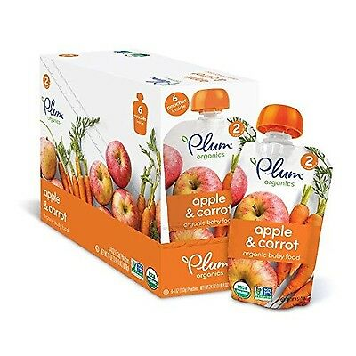 Plum Organics Stage 2 Organic Baby Food Apple and Carrot 4 ounce pouch 12 Pack