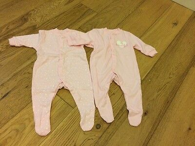 2 New Girls Babygrows Age 0-3 Months