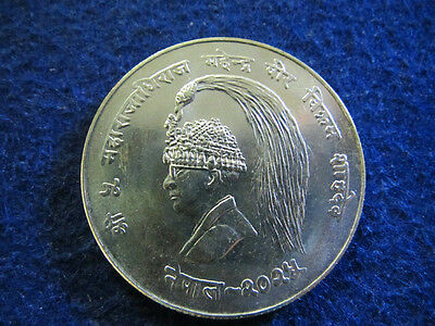 1968 Nepal Silver 10 Rupees - Choice Bright Uncirculated - Free U S Shipping