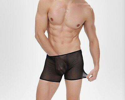 Boxer taille XL noir total transparent sheer Ref S16 neofan homme sexy
