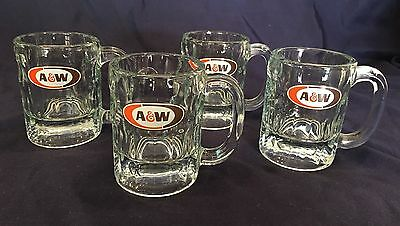 New Vintage Set Of (4) A&w Root Beer Float Glasses Mugs Heavy Thick Glass