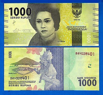 Indonesia P-New 1000 Rupiah Year 2016 Uncirculated FREE SHIPPING