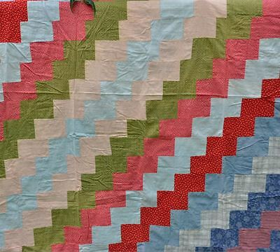 1880-1910 Eye Catching Streak O Lightening Antique Vintage Quilt Top - Charming!
