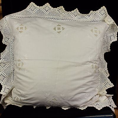 Vintage Mia Armand Hand Embroidered Pillow Euro Sham Lace Case Cover 25X25