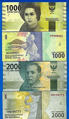 Indonesia 1000 & 2000 Rupiah Year 2016 Uncirculated Banknote Set # 10