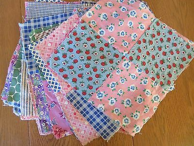 18 Vtg Quilt Top Blocks,hand Pieced, Machine Stitched  Flour Sack Print Cotton