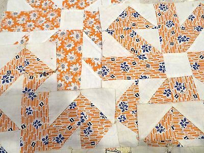 6 Vtg Antique Quilt Blocks,hand Pieced & Stitched Orange Cotton,muslin Pin Wheel