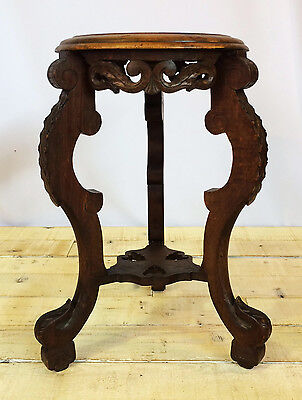 Antique Handcarved Oak Plant Stand, French, Gothic