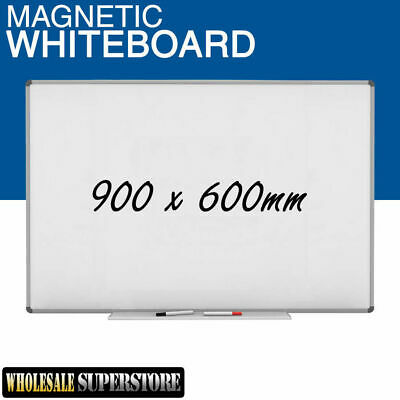 WHITEBOARD 900 x 600mm Magnetic Commercial Quality - Board Office Eraser Marker