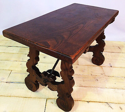 Antique Spanish 19 century style side / serving table, oak and iron, farmhouse