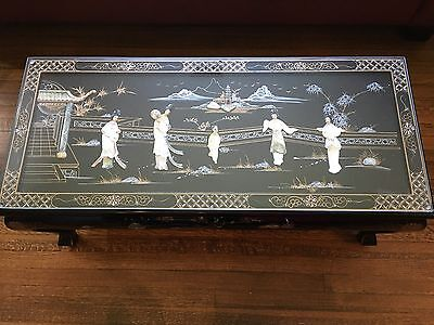 Vtg Rosewood Oriental Asian Black Lacquer Mother of Pearl Coffee Table