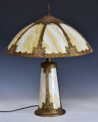 ANTIQUE CIRCA 1910 SLAG GLASS LAMP w/ LIGHT UP BASE