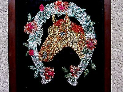 Antique Picture Reverse Painting Foil Work Winners Circle Kentucky Derby 17 X 15