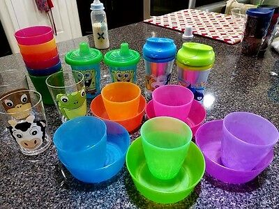 23pc Feeding Lot Infant Toddler Sippy Cups Bowls, dishes