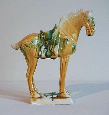"7"" Tang Sancai Ceramic Horse Yellow Green & White Drip Glaze"