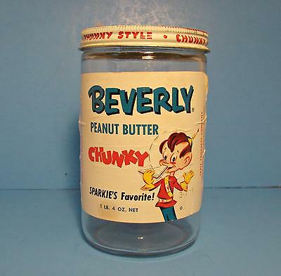 Vintage Beverly Peanut Butter jar Sparkie graphic Table Products Co.