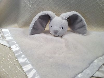 Carter's Bunny Rabbit Rattle White Gray Lovey Baby Security Grey Blanket