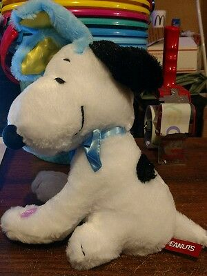 """Peanuts Easter Snoopy w Blue Bunny Ears Animated Plush 8"""" Plays Linus & Lucy"""