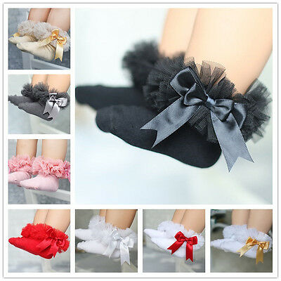 Cute Baby Kids Girl Princess Bowknot Sock Lace Ruffle Frilly Cotton Ankle Socks