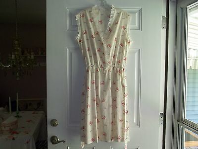 Vtg 40's Cotton CREAM/PINK Rose Floral Lace Trim Belted Sleeveless Sun Dress 12