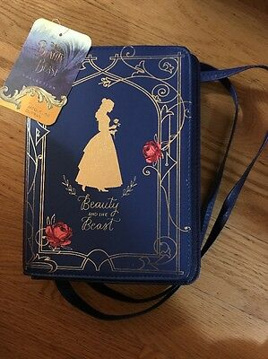 """Licensed Disney Beauty And The Beast BELLE Blue """"BOOK"""" Girls Purse Hand Bag NEW"""