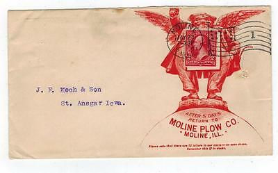ORIGINAL 1901 Moline Plow Company Advertising Envelope With Stamp