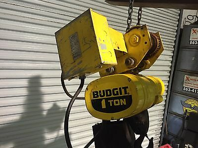 1 Ton Budgit electric chain hoist with motorized trolley no controller
