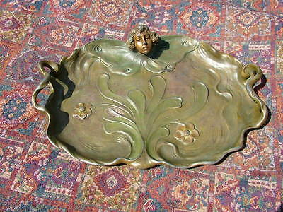 """19Thc. Signed Art Nouveau Large 17"""" Lady's Head Butterfly Handled Tray"""