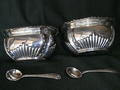 2 Antique Salt cellars & spoons Sterling Sheffield ~1902-1906 (sold as a pair)