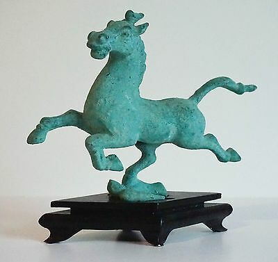 Vintage Galloping Horse On Flying Swallow Metal Verdigris Sculpture Wood Stand