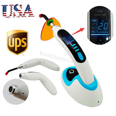 USA 2000MW blue Cordless LED Dental Curing Light Lamp 10W Whitening Accelerator