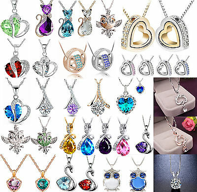 Fashion Women Heart Crystal Rhinestone 925 Silver Chain Pendant Necklace CHIC