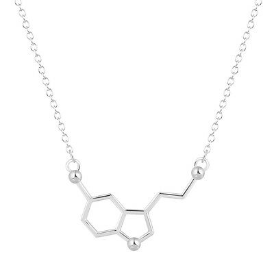 UK MOLECULE SEROTONIN PENDANT NECKLACE Science Silver Jewellery Gift Quirky Cool