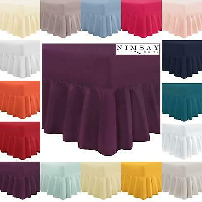 100% Egyptian Cotton Extra Deep Frilled Fitted Valance Sheet Single Double King