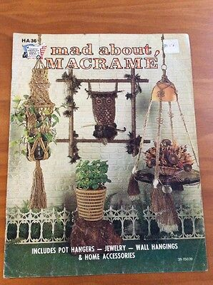 "Vintage Macrame Pattern Book ""mad About Macrame""  13 Projects 1975 Wall Hanging"