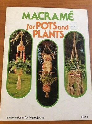 Vintage Macrame For Pots And Plants Pattern Book 1977 14 Projects