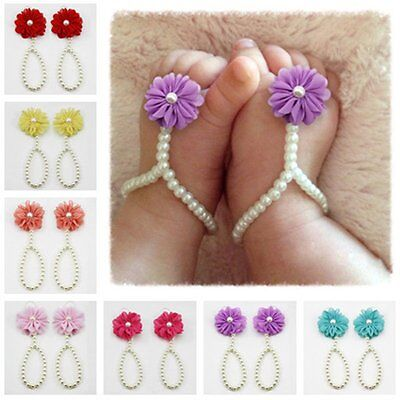 Toddler Infant Baby Girls Flower Pearl Crib Barefoot Ring Beach Sandals Shoes