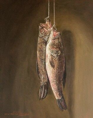 Original Trompe L' Oeil Oil Painting Of Fish Signed By Edward Smalarz