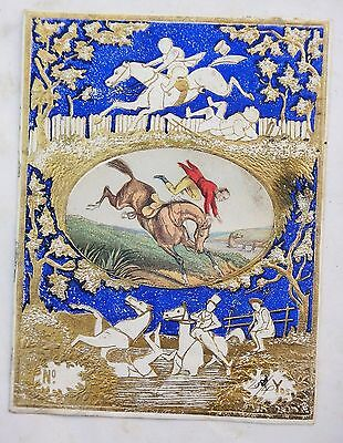 1800s antique victorian EMBOSSED LABEL FABRIC~MAN FALLING OFF HORSE shiny gold