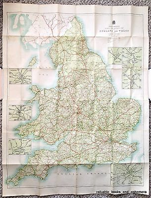 c1920 Touring Motoring ROAD MAP England Wales Great Britain Driving Cars Auto