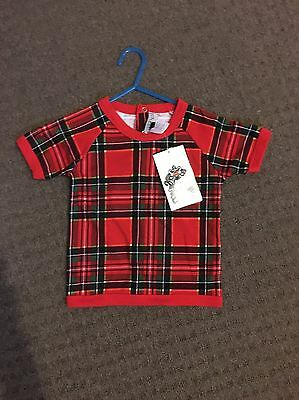 Rock Your Baby BNWT vintage Old School Tartan Tee Shirt RYB size 1