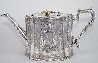 Antique Decorative Thomas Otley & Son Silver Plate Tea Pot - Hand Chased - Drum
