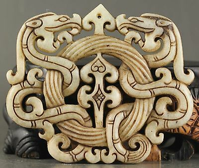 Chinese Hot natural old jade hand-carved statue of double dragon pendant CN1