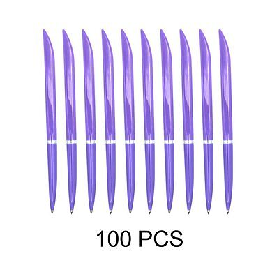 100pcs Bulk Style Purple Rolling Ball Ballpoint Pens, Extra Fine Point, Blue Ink
