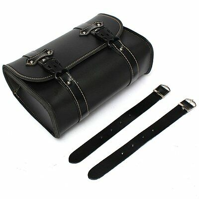 Universal Moto Saddle Pouch Bag Storage Tool in Leather Harley Davidson Black