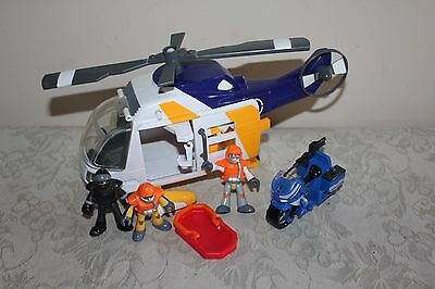 Fisher Price Imaginext Ocean Helicopter Rescue #T2840 Motorcycle 3 Figures