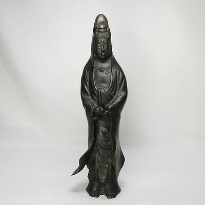 D237: Japanese quality heavy copper ware statue of Goddess of Mercy KANNON