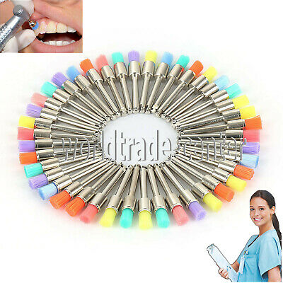NEW 100 PCS Mixed Color Nylon Latch Flat Dental Polishing Polisher Prophy Brush