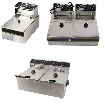6/11/12 Liter Electric Countertop Deep Fryer Dual Tank Commercial Restaurant