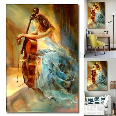 Modern Cello Girl Abstract Canvas Painting Musical Art Home Unframed Wall Decor